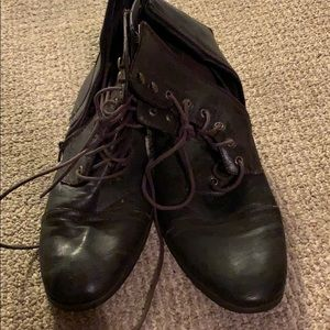Leather combat style boots